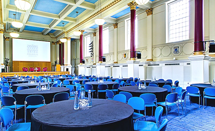 Great Hall & Lutyens Suite **Hire the Great Hall & Lutyens Suite for a large venue to hire in London at the BMA House.**   The Great Hall is the flagship room of BMA House and is perfect for Conferences, AGMs, Award Ceremonies and Dinners; it is also licensed for Wedding Ceremonies! The Lutyens Suite is located on the ground floor of BMA House, directly beneath the Great Hall.  It comprises of the Paget and Snow Rooms and works well in conjunction with the Great Hall or as a standalone space.