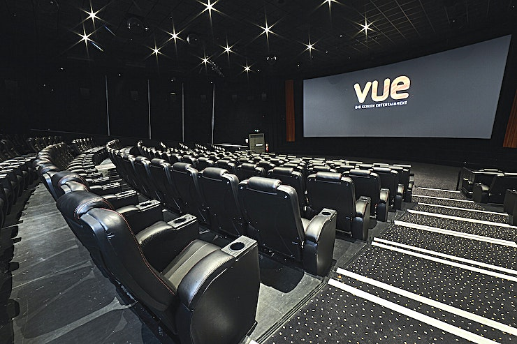 Venue Hire **Exclusively hire the entire venue at Vue Leicester Square for your next cinema hire in London.**   Located on London's prestigious Leicester Square, Vue West End is perfectly suited for conferences, presentations, AGM's and corporate private screenings.   With nine screens ranging from 79-270 seats, and the ability to take over multiple screens or the entire site, there is flexibility available to suit all your needs.   The ability to take over the bar area for your event also allows for private catering for up to 300 pax, either for your corporate event during the day or to recreate your own red carpet experience on the famous Leicester Square.