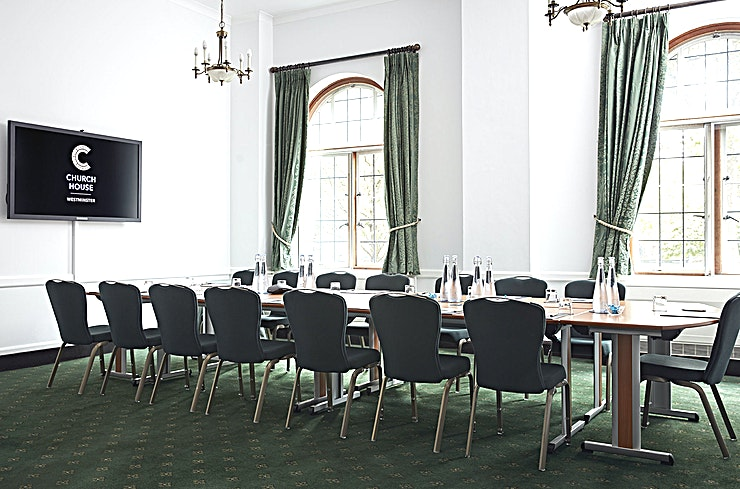 Westminster Room **Hire the Westminster Room at Church House Westminster for your next important meeting!**   Bright and airy, the Westminster Room is 47 square metres and benefits from large leaded windows, natural light and stunning views of Westminster Abbey. This small room, situated on the ground floor next to the Abbey Room, is well suited for boardroom meetings, interviews and presentations or can be used as a breakout space for a larger event.