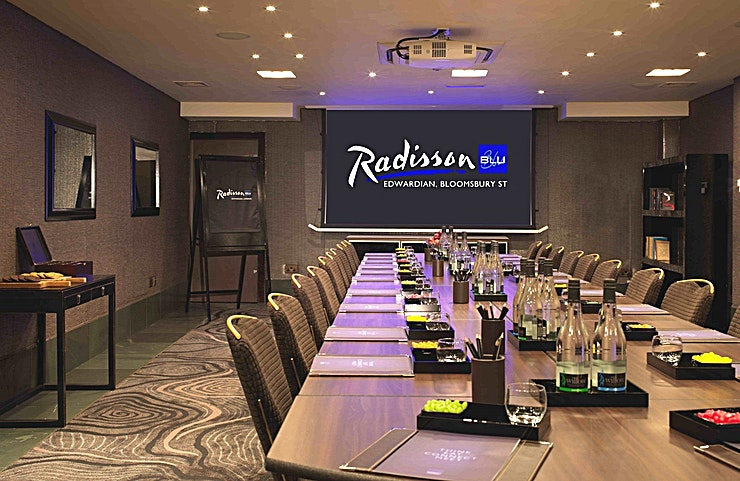 Private Room 3 **Hire Private Room 3 at Radisson Blu Edwardian, Bloomsbury Street for your upcoming corporate meeting in London.**   The Private Room 3 can host a stylish boardroom for up to 15 delegates. Intelligent technology makes everything beautifully simple, with intuitive touchscreen control system.