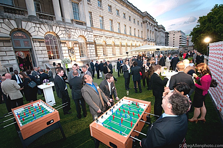 River Terrace **For a outdoor event in an iconic London venue, the River Terrace at Somerset House is top of the list**  As one of the most exclusive Spaces that Somerset house has to offer. The River Terrace has been known to host extraordinary events.  This Space has views of Somerset House's 18th century façade as well as across the Thames to Southbank. This is an unforgettable Space in a widely regarded, historic venue.   For a standing reception this venue can hold up to 500 Guests. The River Terrace is guaranteed to captivate your clients and impress your Guests. Somerset House events are renowned for their splendour. Now your event can be too!  If you're looking for a London event Space to host a drinks reception or company celebration, your search can end at the River Terrace at Somerset House.