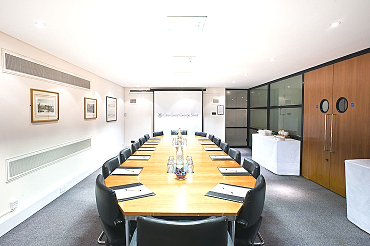 Brassey Room **If you're searching for a contemporary and versatile Space to host your next meeting, One Great George Street has the option for you**  The Brassey Room is modern in style. This meeting room hire is located on the lower ground 2 floor and is the largest single room on this floor.   The layout of the room is flexible and ideal to be used as a boardroom for up to 20 Guests. If you're looking to host a workshop or training session, this Space is ideal.  Alternatively use this meeting room as a breakout room in conjunction with a large conference. Whatever your company event, One Great George Street has the Space to accommodate.  The Brassey Room can be used as a day meeting hire, where delegates can use Brasserie One for their lunch break. If you would prefer to use the room service style catering, this can also be provided by One Great George Street.   The Brassey Room is very close to 6 other similar rooms on the same floor including the Bailey and Bruce White rooms. Creative a multi-functional venue hire at One Great George Street for all of your corporate event requirements.