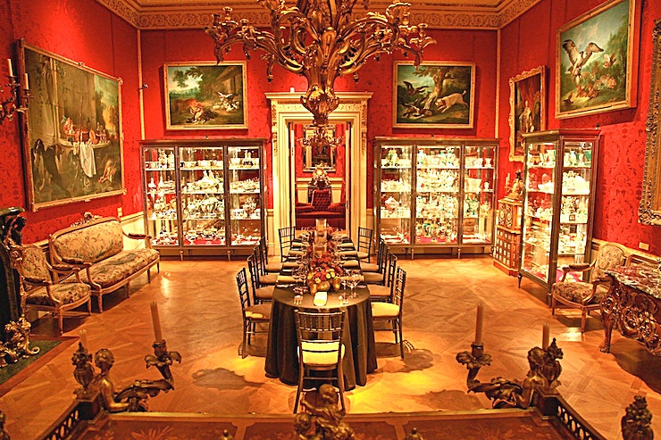 The Back State Room **For an iconic London gallery Space, The Wallace Collection offers a wonderful option available for hire**  The room is a tribute to the patronage of King Louis XV of France and his mistress Madame de Pompadour. This gallery features some of the finest examples of Rococo art in the Collection, making it a striking setting for small dinners.  This gallery Space is a splendid choice available for hire in London.   Just a stone's throw from Bond Street tube station, or Baker Street tube station on the opposite side, this Space boasts a beautiful London location.  If you're searching for a gallery Space to impress Guests at private events, The Back State Room is a flawless choice fitting for any occasion.