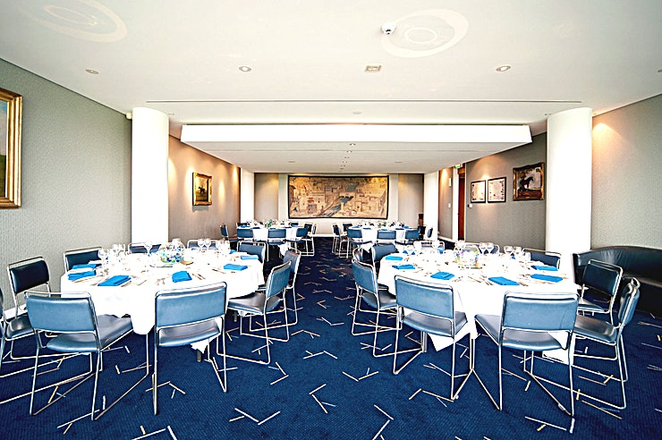 Royal Box **Indulge your Guests in an event with an exclusive atmosphere, ideal for corporate hire**  More intimate meetings, dinners and get-togethers can also be hosted in Epsom Down's Royal Box setting.  For conferences and meetings the Royal Box offers a convenient location to host break-out sessions for small groups or as syndicated rooms for trade shows, exhibitions or large-scale AGMs.  With a view of the stunning Epsom Downs Racecourse serving as the backdrop to your event, you're guaranteed a spectacular occasion.  Whether it's a meeting, conference or private event, the surrounding setting of Epsom Downs Racecourse ensures that no hire is mundane.