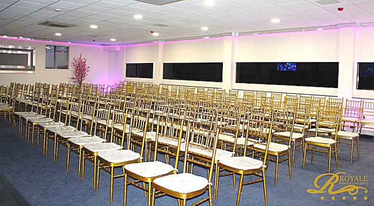 Regal S **Hire the Regal S at The Royale Banqueting Suite for a magnificent conference room hire in the heart of Wolverhampton**  The Royale Banqueting Suite provides 5 star venues. Facilitating events such as wedding receptions, also incorporating Mandap, civil ceremony, pre-weddings and corporate events.   With the corporate client's needs being met with rigorous efficiency, you and your Guests are guaranteed a stress-free experience.  The rich setting and modern splendour of this Space will ensure an elegant and refined venue for your next corporate event.  From private dining to away days, this Space is perfect. Steeped in lavish decor, the Royale Banqueting Suite is incomparable as a conference and meeting venue hire.  The Royale services are provided at three other Regal Venues, including the Regal S. For a Space with a capacity ranging from 100-180 Guests with complete separate facilities and entrances, this Space is a perfect option.  The venue hire comes fully equipped with free large car parking facilities available for all events. You and your Guests are sure to be spoiled in this extravagant Space.