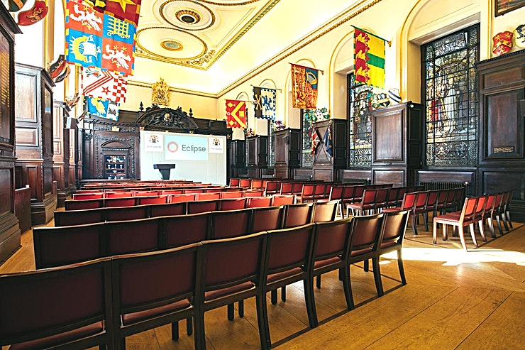 Main Hall **Hire the Main Hall at Stationers' Hall for a private event in London that you'll never forget**  Nestling close to some of the City's most illustrious landmarks, Stationers' Hall is just a stone's throw from St Paul's Cathedral, the River Thames and Millennium Bridge, making it the ideal location for your next private event hire.  Immerse yourself into a seamless blend of welcoming warmth and arresting grandeur. Pass through the cobbled courtyard into this magnificent Hall, completed in 1673 and arrive in merry Olde England.   This Space is large, bright, and meticulously decorated with periodic features, guaranteed to impress your Guests.  For memorable private event hire in London that will go down in history, there is no better Space than Stationers' Hall's Main Hall. Hire of the main hall also includes use of the garden.