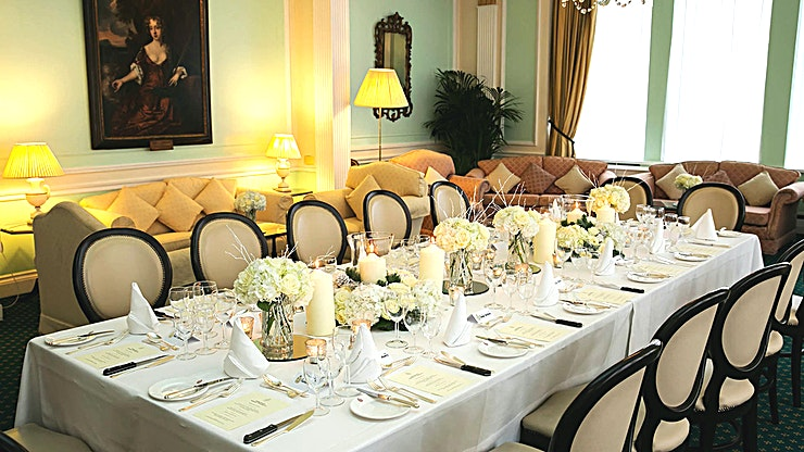 The Drawing Room The classical lines of this elegant room are offset by crystal chandeliers. Sliding walls allow the room to be used as one, or individually, for smaller gatherings or syndicate rooms. This space is id