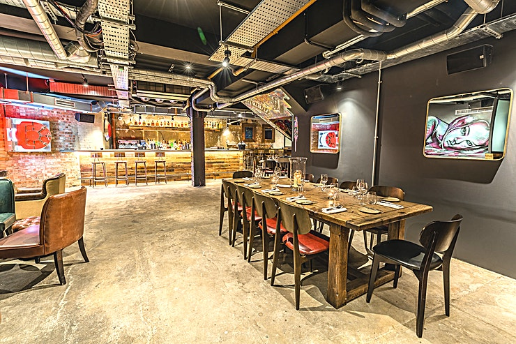 Exclusive Use **HIdden Heddon is a hidden bar at Heddon Street Kitchen, part of the Gordon Ramsay Group.**  Located beneath Heddon Street Kitchen and featuring an urban style and modern art installations, the Hid