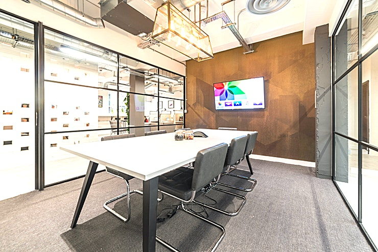 The Cube **Book The Cube at Work.Life Bermondsey for a meeting room ideal for get-togethers and impressing clients**  The room can fit 8 people and is suited and booted with an Apple TV, conference phone, su