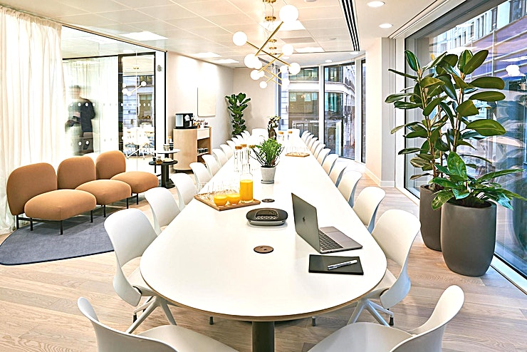 """Meeting Room 10 **For a state-of-the-art meeting room hire in London, visit Meet in Place.**  Meeting Room 10 is a classic boardroom-style Space, perfect for team meetings, away days and presentations.  Specialities include a coffee machine, 55"""" Digital Screen and high-speed WiFi.  Book on an hourly basis with no membership needed. Ideal for freelancers, entrepreneurs, business travellers and corporate businesses alike.  Various room sizes are available from four different categories to fit all your meeting needs."""