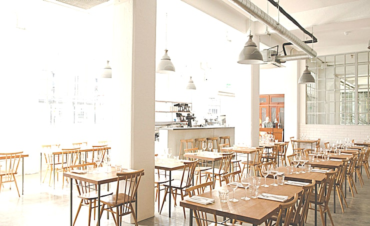 Exclusive Venue Hire Located on the ground floor of the Tea Building in Shoreditch, James Lowe brings together an established network of farmers and fisherman with his pared back, modern British menu. The highly seasonal