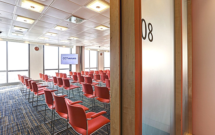 Room 8 **Room 8 at CCT Venues Plus-Bank Street is a flexible events venue available to hire in Canary Wharf.**  Just a minute's walk from Canary Wharf tube station, this stunning venue at 40 Bank Street offers events space that makes an impact for all the right reasons.   On the upper floors of this pristine 32-storey office complex, we have 26 flexible meeting rooms with floor-to-ceiling windows that boast breath-taking views across London.