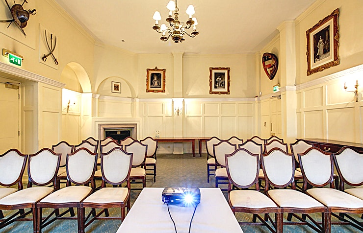 Ante Room **Ante Room at the historic HAC in London is the perfect venue hire for conferencing, office parties or wedding receptions.**  The HAC is a unique, historic London venue offering a variety of event spaces for conferences, meetings, awards dinners, summer and christmas parties, fun days and wedding receptions.  Located just a stone's throw from Moorgate and hidden away in a quiet location unseen from City Road, the HAC, with its five acre garden, is an oasis of green in a City of glass and steel.