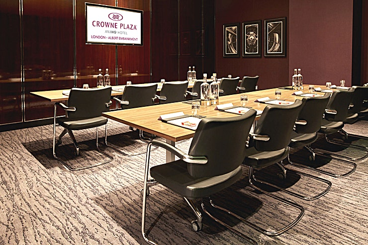 Meeting 2 **Meeting Room 2 at Crowne Plaza London is a meeting room available to hire in Lambeth next to the River Thames.**  The newly opened Crowne Plaza London - Albert Embankment is much more than just a luxury business hotel. Our professional facilities combine with a central London location on the River Thames, a spectacular rooftop bar and a fine dining restaurant.   It's a stylish destination for the discerning London visitor – whether you're in town for work or pleasure.  Beside the River Thames on Albert Embankment, we're a 10-minute walk from Vauxhall Tube and rail stations. The hotel is directly linked to Waterloo and Victoria transport hubs, connecting trains from all over the UK.   If you're meeting clients who are coming in from overseas we're also superbly located for international airports including Heathrow, Gatwick and London City.   Looking for a luxury central London hotel with professional facilities? Look no further. Crowne Plaza London - Albert Embankment provides first-rate professional services for businesses, catering for seminars, presentations and meetings for up to 62 delegates.  Our boardroom and meeting rooms have absolutely everything you need to run a successful business event. And with options to extend rooms to fit different requirements, we can adapt our facilities to suit your business needs.