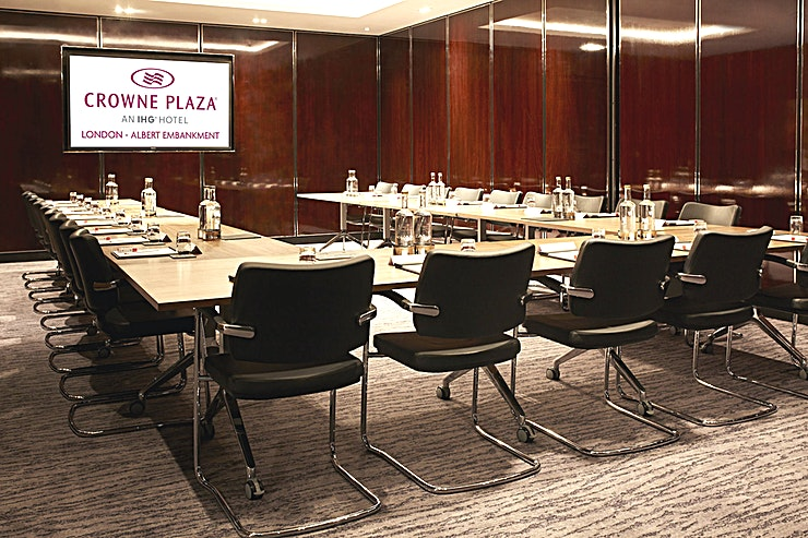 Meeting 1 **Meeting Rooms 1 at Crowne Plaza London is a flexible meeting room available to hire in Lambeth next to the River Thames.**  The newly opened Crowne Plaza London - Albert Embankment is much more than just a luxury business hotel. Our professional facilities combine with a central London location on the River Thames, a spectacular rooftop bar and a fine dining restaurant.   It's a stylish destination for the discerning London visitor – whether you're in town for work or pleasure.  Beside the River Thames on Albert Embankment, we're a 10-minute walk from Vauxhall Tube and rail stations. The hotel is directly linked to Waterloo and Victoria transport hubs, connecting trains from all over the UK.   If you're meeting clients who are coming in from overseas we're also superbly located for international airports including Heathrow, Gatwick and London City.   Looking for a luxury central London hotel with professional facilities? Look no further. Crowne Plaza London - Albert Embankment provides first-rate professional services for businesses, catering for seminars, presentations and meetings for up to 62 delegates.  Our boardroom and meeting rooms have absolutely everything you need to run a successful business event. And with options to extend rooms to fit different requirements, we can adapt our facilities to suit your business needs.