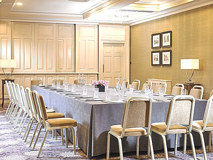 The Georgian Suite **Located in the heart of Dublin, Buswells Hotel has six uniquely different meeting Spaces to hire.**  If you are looking for a boardroom for eight people or theater setting for 70, the team here at Buswells will be sure to look after you every need.  The Georgian Suite is serviced with state-of-the-art technology and air conditioning and have the use of a private lounge. We offer complimentary WiFi in all meeting rooms and Bottled Buswells Water.