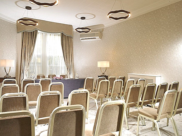 Board Room **Located in the heart of Dublin, Buswells Hotel has six uniquely different meeting Spaces to hire.**  If you are looking for a boardroom for eight people or theater setting for 70, the team here at Buswells will be sure to look after you every need.  The Board Room is serviced with state-of-the-art technology and air conditioning and have the use of a private lounge. We offer complimentary WiFi in all meeting rooms and Bottled Buswells Water.