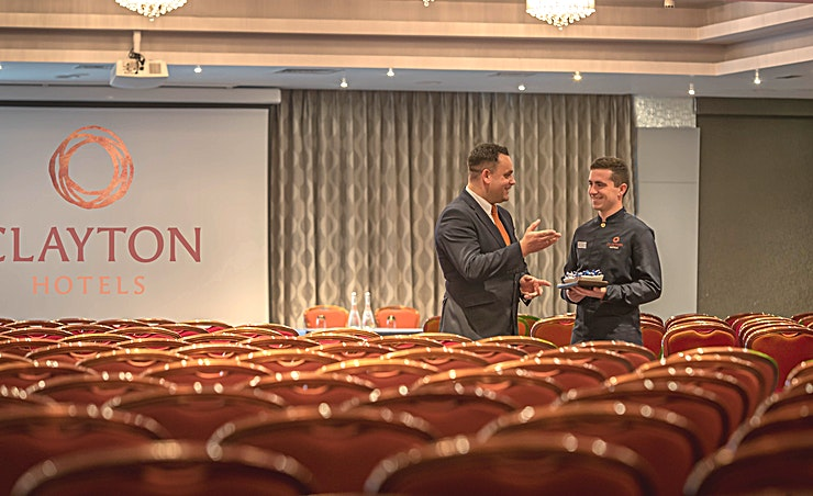 Pegasus Room 2 **The Pegasus Room is a top-of-the-range meeting room to hire in Sligo.**  Pegasus room is our largest room measuring 30m x 17m and can accommodate up to 650 people in a theatre set up and up to 400 in a banquet set up. Pegasus has built-in microphones that suit any event's needs. This room has natural daylight. The room is very flexible and can be partitioned in 2 to accommodate smaller events.  At Clayton Hotel Sligo, choose from any of the six meeting rooms, accommodating 2 to 600 delegates, all of which are situated in the purpose-built conference centre.   Their meeting rooms are adaptable to provide flexible solutions to your specific needs, offering every size space you need – from a simple business meeting to a uniquely stylish dinner dance and conference in Sligo.  Whatever your requirements Clayton Hotel Sligo has conference and meeting facilities, suitable for any group size. Within easy access for bus and rail services, Clayton Hotel Sligo is a premier conference venue in the North West.   Perfectly complimented by dedicated event coordinators on hand to help design and arrange bespoke functions.  When looking for a meeting room in the North West look no further than Clayton Hotel Sligo for exceptional facilities, service and value.