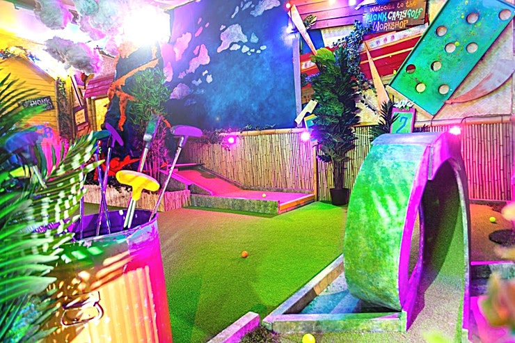 The Whole Course **Hire Plonk Crazy Golf in Shoreditch for a unique team away day.**  Step of the streets of Shoreditch, through the street art covered doors and into our BYOB mini golf lovers paradise.  The venue can hold up to 50 Guests in the indoor course and our BYOB policy makes for a great party bonus!  Another Classic 9 hole course but with some newly designed holes for Plonk's first trip to Shoreditch.  As you feel you're getting into the swing of things, the course takes it up a gear asking you to use your ingenuity and coordination to move the ball through intricate mazes and brain bubbling putting greens while your scorecard hits rock bottom or heady new heights.