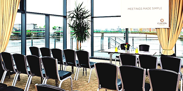 Pegasus Suite **The Pegasus Suite at Clayton Hotel Limerick is a large conference venue to hire in Limerick.**  The Pegasus Suite is located on the first floor and is Clayton Hotel Limerick largest conference rooms. This multipurpose room can be partitioned into 3 smaller meeting rooms – Pegasus 1, 2 and 3. It has two floor-to-ceiling glass walls showcasing majestic views over the River Shannon and Limerick City Skyline with a heated balcony running the length of the room.   This room is equipped with a built-in LCD projector, Screen, air conditioning and complimentary WiFi.