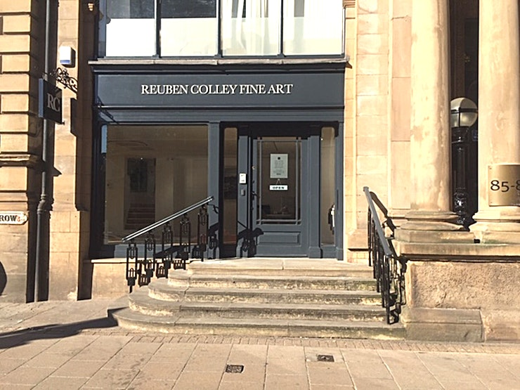 Exclusive Hire, Gallery **If it's an unusual Birmingham venue you're looking for, then exclusively hire the Gallery at Reuben Colley Fine Art for your next corporate event.**   Reuben Colley Fine Art is an independent art gallery set in the heart of Birmingham's financial district, founded by the Birmingham artist Reuben Colley.   We occupy a superbly converted space in one of Birmingham's fine Victorian buildings.  Originally the Union Club, the building dates from 1870.  The architect was Yeoville Thomason, who was also responsible for the Birmingham Council House.   The artists represented by us work in a wide range of genres, from abstraction to hyper-realism, we also exhibit work by some of the most significant artists of the 20th century including Andy Warhol, Damien Hirst and Grayson Perry.  RCFA presents work of outstanding quality in a relaxed and welcoming gallery space.   We are able to cater for standing receptions of up to 120.  We can help advise on catering with local fine dining establishments who can also supply staff to serve drinks and canapes. However, if you would like to arrange this yourself we are more than happy for you to do so.  We have a large drinks fridge and kitchen facilities on site which you are welcome to use.