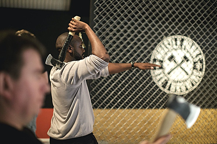 Whole Venue **For a truly unique team building experience in London, visit Whistle Punks Urban Axe Throwing Vauxhall.**  We think it's the most satisfying and social day or night out you'll ever have. And we've tried a few.  You'll be slinging axes side by side against your colleagues or clients, hitting bullseyes and cheering on your mates. All backed up with great music and atmosphere and a chance to socialise between throws.  Our experienced throwing instructors will get you throwing like a pro in no time. Then once you've got the hang of it we'll take you and your group through a tournament until the king or queen of axes is crowned.