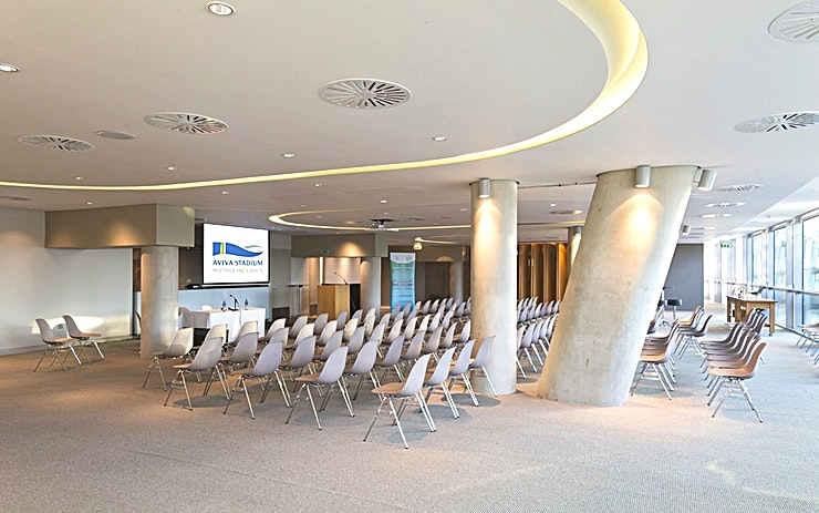 Vavasour Suite **Looking for an event Space in Dublin for a networking event, corporate event or product launch? Hire the Vavasour Suite at the Aviva Stadium.**  The Vavasour Suite is named after a quiet picturesque residential square located in Dublin 4.  This Space is located on Level Two in the South end of the Stadium. This Space contains the central suite and east and west wing ideal for catering, syndicate space or pre-dinner drinks.   The central suite offers inbuilt AV and views over Lansdowne Road. It also contains inbuilt cloakroom, service bars and registration areas.  It is ideal for a private event as it is self-contained and a group can move around each area without interruptions.