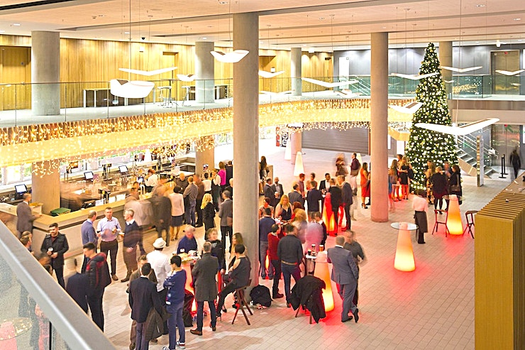 Atrium **For a unique team away day in an iconic Dublin venue, hire the Atrium at the Aviva Stadium.**  The Atrium is located on level 3 on the west side of the Stadium and much like 1872 boasts double height ceilings and a full pitch view.  Level 3 is the Premium Level on a match day and this bright, airy Space can be used in a multiple of ways.  The Space is located above the President's Area and therefore is most used in conjunction with this area. It can be everything from the catering Space, to the exhibition Space to the pre-dinner drinks reception area.  Not only that, but it can also be used with our outdoor Podium area for BBQ's and outdoor activities.