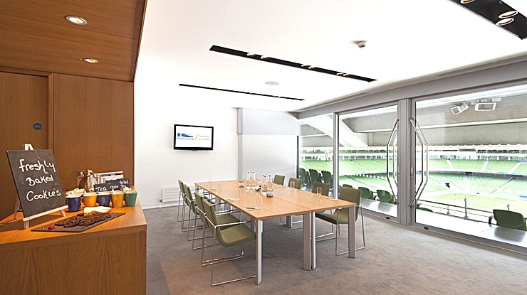 Corporate Box 50 **Looking for an inspiring team away day venue in the Irish capital? Hire a corporate box at the Aviva Stadium.**  The stadium's corporate boxes are located on level 4 and wrap the entire way around the Stadium. All corporate boxes have pitch views and natural daylight.  There are three sizes available. The small corporate boxes are suitable for groups of up to 10 people boardroom style.  The medium corporate boxes are suitable for groups of up to 30 people theatre-style or a dinner for 20 people. The large corporate boxes are suitable for groups of up to 70 people theatre style or dinner for up to 50 people.  Each corporate box includes use of the built-in plasma screen, cloakroom and complimentary WiFi.