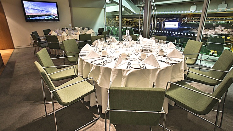 Corporate Box 24 **Hire a corporate box at the Aviva Stadium, the perfect Dublin venue hire for team away days and networking events.**  The stadium's corporate boxes are located on level 4 and wrap the entire way around the Stadium. All corporate boxes have pitch views and natural daylight.  There are three sizes available. The small corporate boxes are suitable for groups of up to 10 people boardroom style.  The medium corporate boxes are suitable for groups of up to 30 people theatre-style or a dinner for 20 people. The large corporate boxes are suitable for groups of up to 70 people theatre style or dinner for up to 50 people.  Each corporate box includes use of the built-in plasma screen, cloakroom and complimentary WiFi.