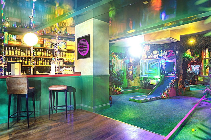 The Arcade Room **For a fun, competitive team building event in Islington, hire The Arcade Room at Plonk Crazy Golf.**