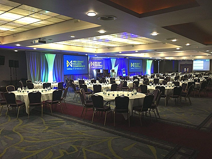 Ballroom **The Ballroom is a large event venue to hire in Dublin for corporate events, team celebrations and product launches.**  The Ballroom is bright and airy, with natural daylight. The Ballroom at Clayton Hotel Galway is perfect for conferences and events. It can be subdivided into two separate sections, and when separated Ballroom 2 can cater for up to 800 people theatre style  At Clayton Hotel Galway your conference will be managed to the highest standard. The conference level is located adjacent to Tribes Restaurant, guest room elevators and has a reception area to assist with conference administration. The venue's dedicated conference team will be on hand to help you plan the perfect event every step of the way.  Conveniently located for Galway city centre, Ballybrit Racecourse and major business parks, Clayton Hotel Galway is the perfect choice for exploring Galway.  Relax and unwind. All rooms and suites are air-conditioned and boast luxurious King Coil beds, large flat screen TVs and free WiFi throughout the hotel. Workout or wind down in our fabulous leisure centre complete with 20m swimming pool, fully equipped gym, sauna & steam room.