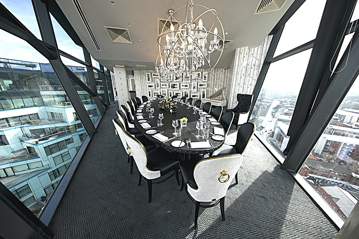 Private Dining Room **The Private Dining Room at Marco Pierre White at The Cube is a stylish Space for hire in Birmingham.**  The private dining room is the best-kept secret of Level Twenty Five. Located at the North Western aspect of the iconic and striking building that is the Cube, this truly spectacular room evokes charm and glamour.   Your own room with a stunning view, offering you and your guests complete seclusion and privacy.   The natural daylight serving this Space rivals any skyline throughout the UK, making it the perfect choice of venue for private family gatherings, corporate gatherings and presentations.