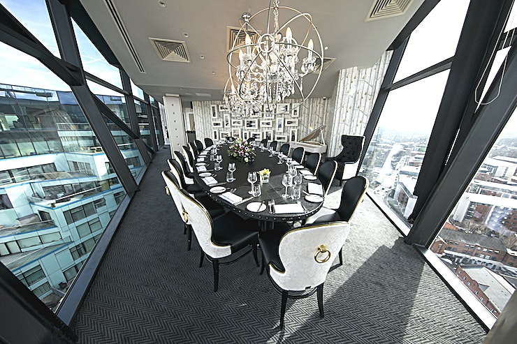Private Dining Room **The Private Dining Room at Marco Pierre White at The Cube is a stylish Space for hire in Birmingham.**  The private dining room is the best-kept secret of Level Twenty Five. Located at the North W