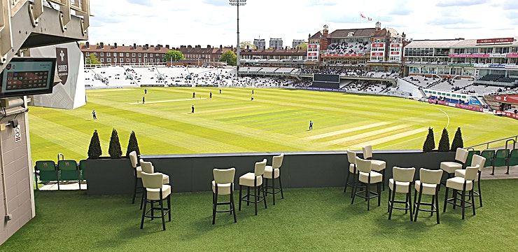India Suite **Hire the India Suite at the Kia Oval Cricket Stadium for a unique London venue to hire for your next corporate event.**   The India Suite, located on the second floor of the OCS Stand, can accommodate up to 200 delegates informally, 150 guests theatre style, or up to 112 cabaret. There is a large private covered terrace with a bar, which makes the room perfect for summer conferences with an al fresco lunch or perhaps a post-conference Pimms whilst watching the cricket? There is complimentary Wi-Fi for all delegates inside the suite.