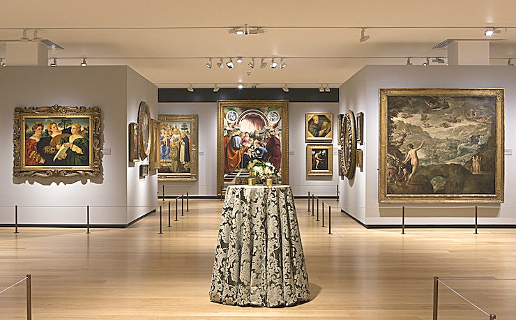 Gallery A **Gallery A at The National Gallery is a stunning event Space for hire in St James's.**  Nestled in the peaceful North Galleries, Gallery A offers a different way of experiencing the nation's collection of European paintings; hung in broadly chronological order, it tells the entire story of 600 years of painting in a single, contemporary Space.   The alcoves of Gallery A are perfect for Guests to explore during a drinks reception / for hosting elegant breakfasts/lunches/dinners.
