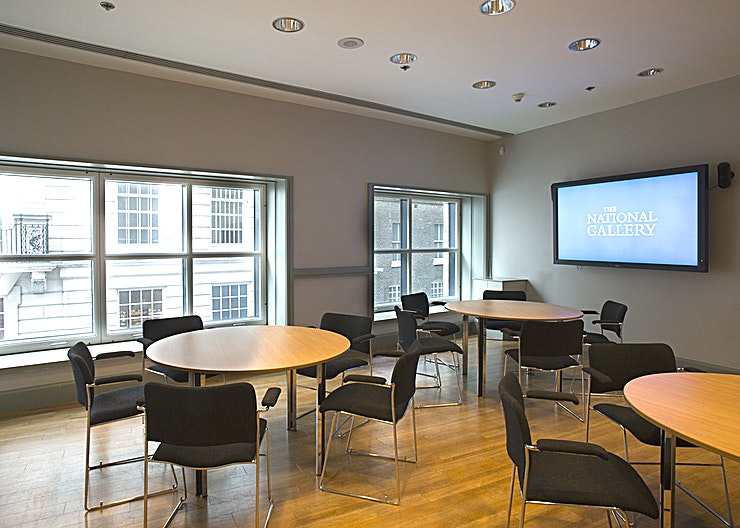 """Conference Room 3 **Hire Conference Room 3 at The National Gallery for a state-of-the-art conference room hire in St James's.**  Conference Room 3 is located within the Sainsbury Wing of the National Gallery on Level 1 and can accommodate up to 25 theatre style or 12 in boardroom style.   - 70"""" NEC LCD screen - Installed PC, with audio system. Laptops supported - Black out blinds - Dedicated Event Coordinator"""