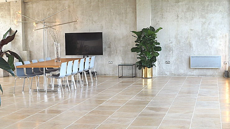 The Meeting Room **Book The Menier Penthouse for a stunning meeting room for hire near London Bridge.**   The Menier Penthouse meeting room is a beautiful Space showcasing floor to ceiling windows, stone floors, con