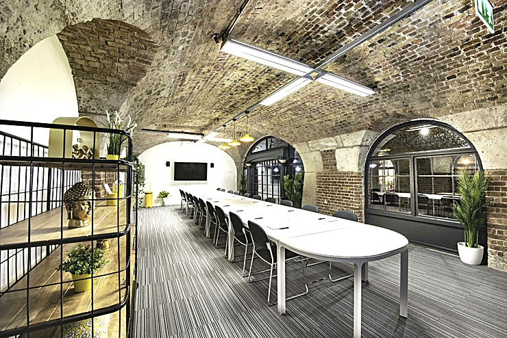 East Dock **East Dock is a great option for meeting room hire in London**   Ranging in capacity from 24 to 60 people in a boardroom, cabaret or theatre style layout, the meeting rooms at East Dock offer the perfect venue for your next business gathering. The vaulted Victorian brickwork interior creates an atmospheric and stylish backdrop, while the speedy and secure WiFi connection and top-of-the-range screens and projectors will keep up with the most demanding of briefs.   Flexible and conveniently placed, all the East Dock meeting rooms can be hired individually, or in combination to accommodate a larger event. The differently sized Spaces provide ample opportunity for breakouts and workshop areas as well as plenary sessions.