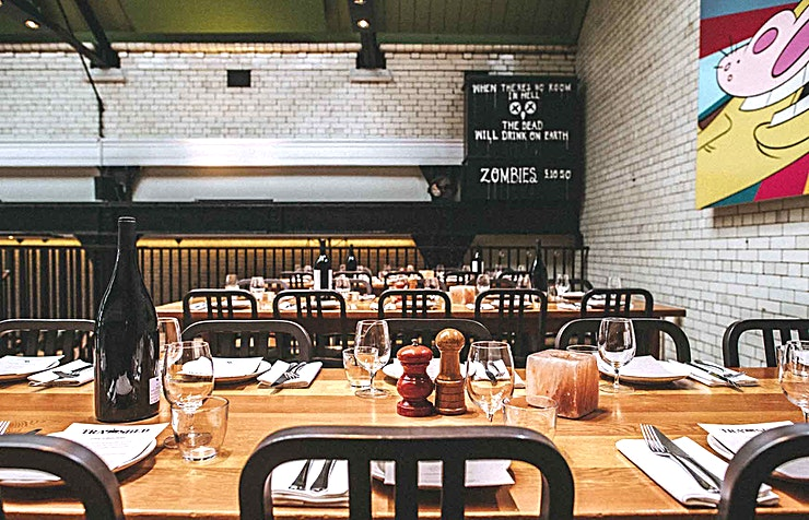 Mezzanine **Hire the Tramshed Restaurant for your next lunchtime dining event.**   Mark Hix's idea is simple, its chicken or steak to share in the restaurant. Mighty Marble Himalayan salt dry-aged steak from
