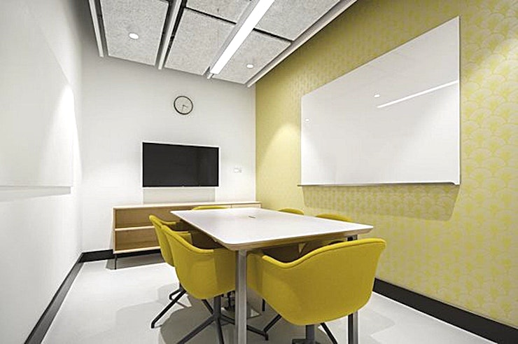 """Paste **Paste at Barley Mow Centre is a modern meeting room for hire in Turnham Green.**  Pops of yellow and top of the range facilities including, 50"""" LED screen/AV, Clickshare - for wireless presenting and high-speed Wi-Fi, makes Paste the perfect place for a team get-together."""
