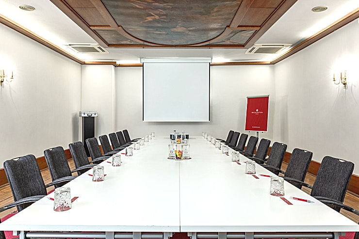 Ferdinand Bol 1 Ferdinard Bol Room 1 is 1 out of 4 meeting rooms which can be combined all together. This meeting room is 55m2 and has a ceiling height of 2.90 meters. You can host up to 50 people.  The meeting room is equipped with air conditioning, free Wi-Fi, a carpetted floor, high quality furniture, high speed internet and has variable light and variable walls.  Feel Safe at NH: NH Hotel Group launched Feel Safe at NH in collaboration with the SGS. As part of this, 10 protocols have been established for the safety of guests, participants and employees. With this, we guarantee that you can organize your meeting or event in all health and safety. Our F&B services are also adapted to the current situation.  The loaded meeting room capacity is the standard one. In case that any COVID restriction or regulation applies to your request, the selected hotel will apply the corresponding restrictions during the quotation process. Based on destination, size and date of the event.
