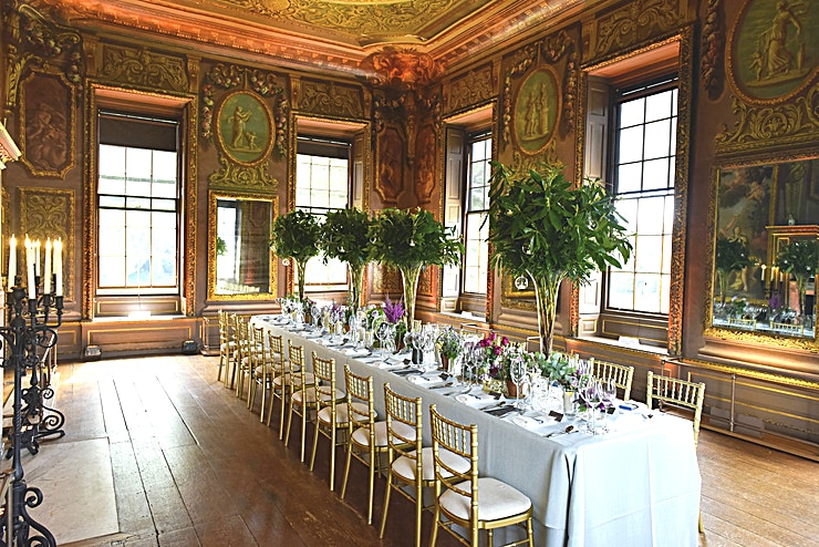 Little Banqueting House **For the perfect corporate event try Hampton Court Palace venue hire.**   Small but perfectly formed, the Little Banqueting House is one of the most picturesque spaces in Hampton Court Palace, ideal for intimate celebrations and luxury conferences.   Set peacefully amid the palace gardens, the Little Banqueting House affords beautiful views of the Thames as well as Hampton Court Palace.   The Little Banqueting House can accommodate up to 50 Guests for a reception and dinner and is licensed for civil weddings ceremonies. Its small private garden is perfect for an outdoor drinks reception and a marquee can even be erected for al fresco celebrations.    For dancing, it can be combined with the Garden Room or the palace itself. Alternatively, Little Banqueting house can be hired during the day for small corporate lunches or conferences, guest entry can be even more luxurious if guests arrive by boat.