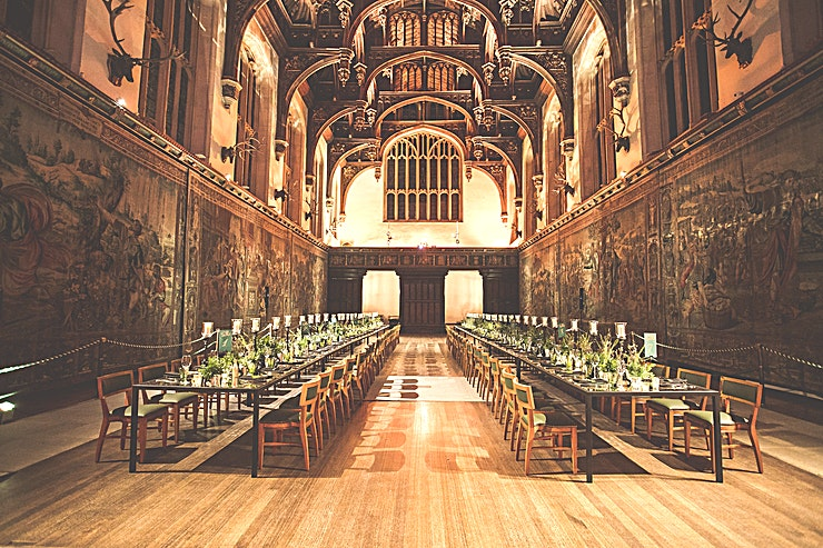 Hampton Court Palace **Hire the Great Hall at Hampton Court Palace for a prestiguous back drop to your next event.**  For centuries, Hampton Court Palace has boldly and magnificently played host to gala celebrations, festive banquets and historic meetings. England's most famous kings and queens, from Henry VIII and Anne Boleyn to William III and Mary II have dazzled audiences of ambassadors, courtiers, cardinals, artists and dignitaries with the grandeur and majesty of Hampton Court. The Baroque Palace as well as the Tudor palace make up the rich history of Hampton Court, with a number of beautiful spaces available both large and small the palace is suited to an array of events, from gala dinners, to large receptions to parties and dancing.  The Great Hall at Hampton Court Palace is simply one of the most spectacular spaces in Britain. England's last and greatest medieval hall to hire, is a magnificent venue where royal residents dined and celebrated until the early hours underneath its awesome hammer beam ceiling. And now you can give up to 270 guests the same royal treatment.  The Grounds of Hampton Court are expansive and beautifully kept with multiple spaces available for hire either for marquees or for outdoor summer parties.