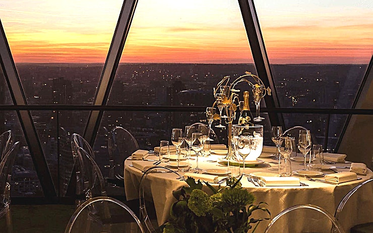 Christmas at The Gherkin **Make this year's Christmas party one to remember and celebrate at the very top of The Gherkin.**   Exclusive hire of Helix and Iris provides a striking backdrop for an unforgettable Christmas party.   Offering magical 360-degree views across London, the Space is suitable for up to 260 Guests for a sparkling reception and up to 140 Guests for a festive dinner.   For more intimate celebrations, the private dining rooms on level 38 are perfect for parties up to 60 Guests.   Pair exquisite menus with vintage cuvees, while you look out over the sparkling lights of London and raise a glass of Champagne to an extra special Christmas this year.