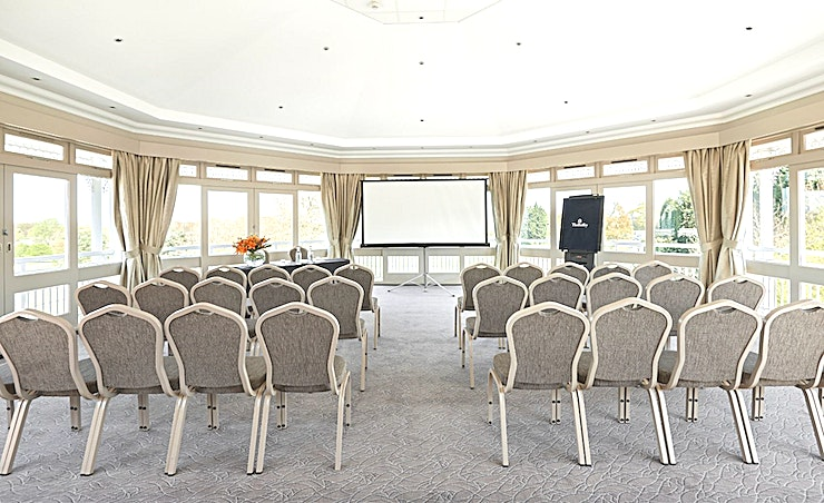 Cotton Suite **For your next corporate event hire the Cotton Suite at The Belfry Hotel & Resort.**   The Cotton Suite is a stylish Space and easily adapted to meet your events specific needs. From small conferences and workshops to seminars and team away days, this venue is ideal.  At The Belfry Hotel & Resort, you will be greeted by the ultimate mix of modern, chic and traditional décor that runs throughout the resort. Each and every event room is unique, giving you a variety of options for your event.  Whether you're looking for an intimate Space for a smaller day meeting or somewhere with far-reaching views to impress clients, or a larger annual conference, there's something to suit everyone.   With fantastic transport links too, The Belfry is easy to reach from all over the UK and further afield.  This second-floor room offers spectacular views across the golf courses and has a bright, airy ambience.  For more details on how The Belfry are now Covid Secure, go here: https://www.thebelfry.com/covid-19-update/