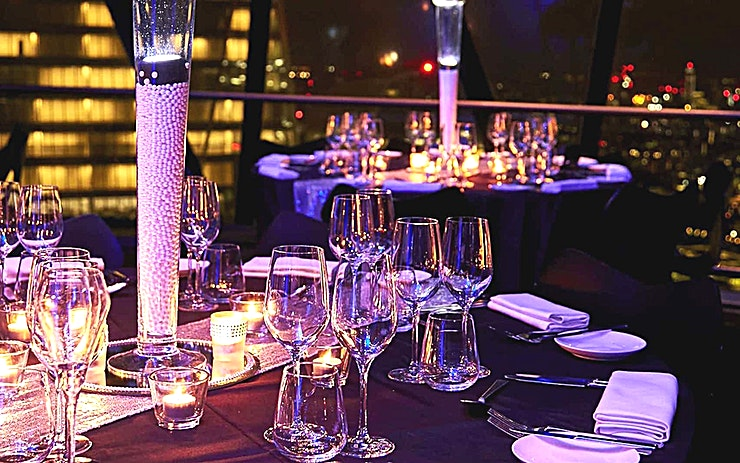 Christmas Private Dining at The Gherkin **Make this year's Christmas party one to remember and celebrate at the very top of The Gherkin.**   The Gherkin's private dining rooms provide a striking backdrop of an unforgettable Christmas party.   Offering magical views across London, the Space is suitable for sparkling receptions up to 60 Guests, and festive lunch and dinners for up to 50.   Pair exquisite menus with vintage cuvees, while you look out over the sparkling lights of London and raise a glass of Champagne to an extra special Christmas this year.