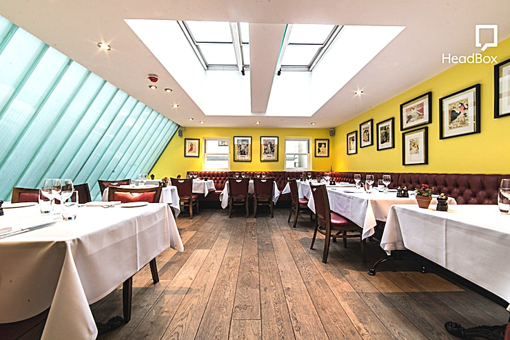 Lunch, Exclusive Restaurant Floor Our main Restaurant area is suitable for up to 70 seated. This space can only be hired during lunch for private meals and dinner private hires will sadly not be accepted. Please see out menu which is