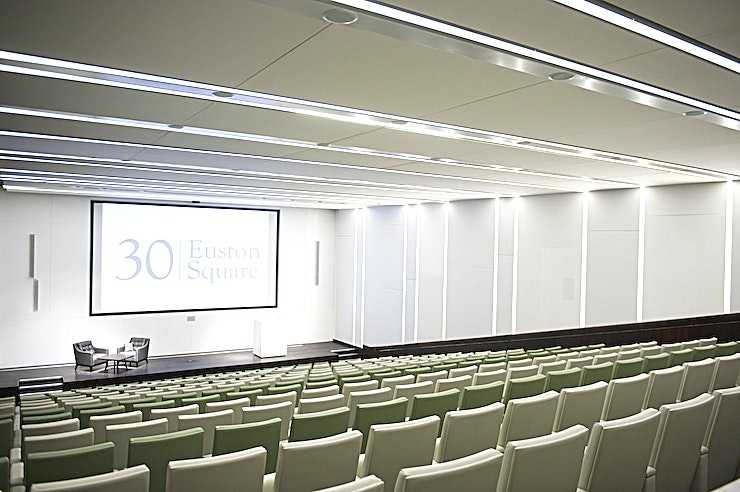 Auditorium & Event Space Book the auditorium at 30 Euston Square in London for a conference, presentation or talk. This is a great venue outside the office for a number of business and corporate events.    The venue is located off the Euston Road and just a few minutes away from Euston, Euston Square and Warren Street tube and rail stations. Its central London location and excellent transport links make it ideal situated for business events.  30 Euston Square is a top event venue in London for offsite corporate events. It is the headquarters of the Royal College of General Practitioners. The Royal College of General Practitioners is at the forefront of primary patient care. The venue opened its doors in February 2013 after a significant investment and refurbishment programme.  This Space itself is a tiered auditorium, a smart yet comfortable London venue with all the conference facilities you might need. The Space offers a state-of-the-art screen, 3D projection and surround sound speakers. The high-tech facilities make it perfect for all kinds of events, including high profile events and annual conferences.       The pricing is based on a dry hire with catering options available upon request.