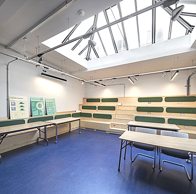 Training Room B **Training Room B at Place2Be is a versatile training room for hire in Clerkenwell, perfect for team away days, workshops and meetings.**  Place2Be is a leading children's mental health charity and training provider. The venue has four large training rooms and several smaller meeting rooms available for hire 5 days a week.  •All training rooms come with projection equipment as standard.  •Tea and coffee making facilities and break out spaces available. •Flipcharts and standard stationery items available on request.  As this is a working charity office priority goes to Place2be activities: please be mindful of this when making any urgent enquiries.